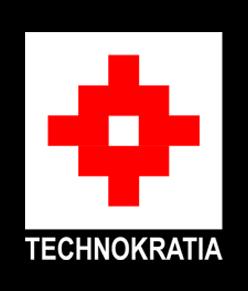 TECHNOKRATIA logo sa crnom podlogom